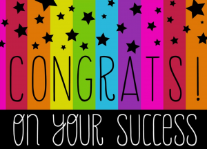 Visual congratulating student success